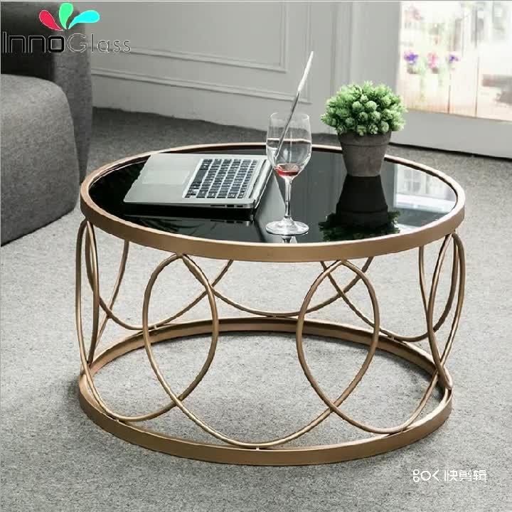 Yuvarlak ve Dikdörtgen Şekli Modern Fantezi Cam Üst Sehpa Cam oturma odası masası