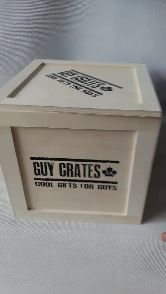 Custom Printing Logo Small Vintage Plywood Wooden Crate Box with Lid for Gift
