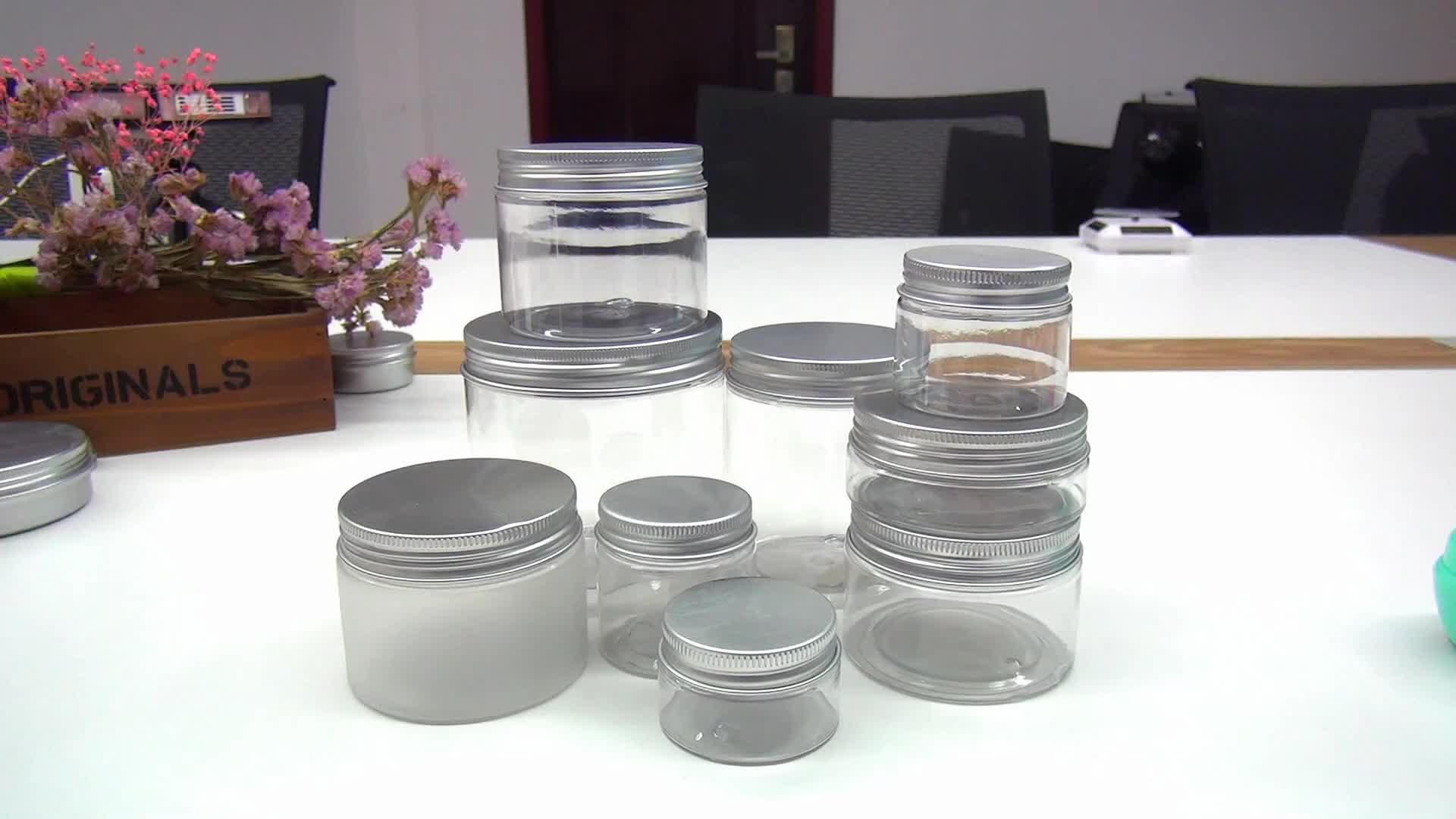 Leere food grade bernstein pet kunststoff glas mit klarem schwarz weiß gold silber deckel