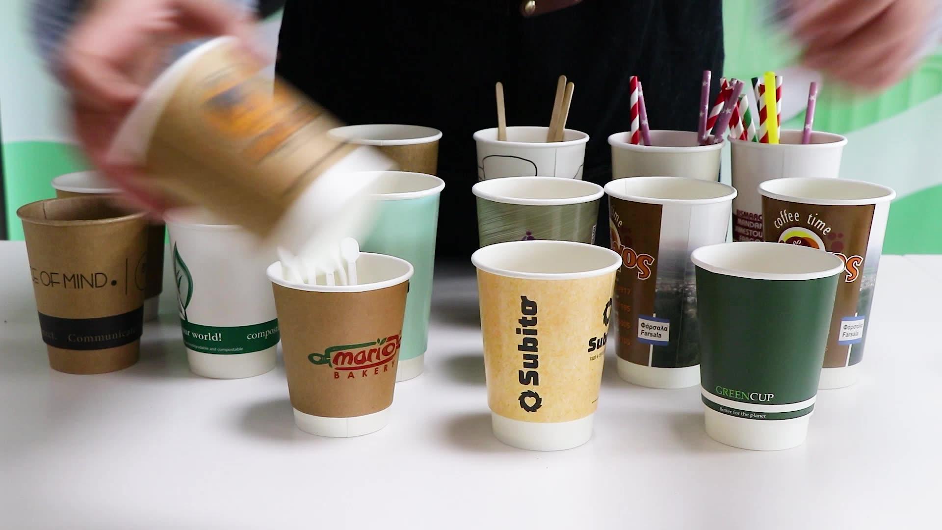 12ออนซ์ทิ้งดีพิมพ์คราฟท์คู่ผนังถ้วยกระดาษสำหรับเครื่องดื่มร้อนหรือเย็น
