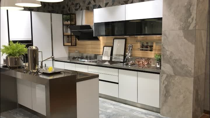 High Gloss Solid White Glass Stainless Steel Kitchen ...
