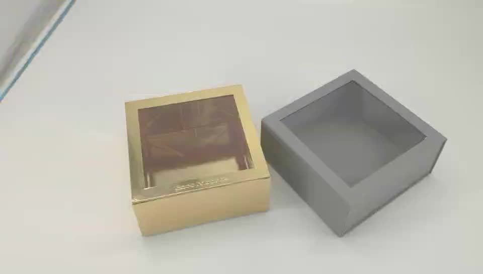 Custom Rigid Cardboard Candle Paper Gift Boxes Packaging With PVC Window