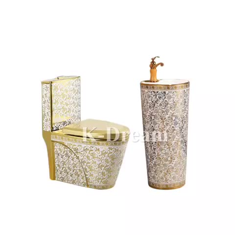 """שחור וזהב מים ארון KD-01GPD זהב מצופה עיצוב בב""""ש אגן סט יוקרה אמבטיה"""