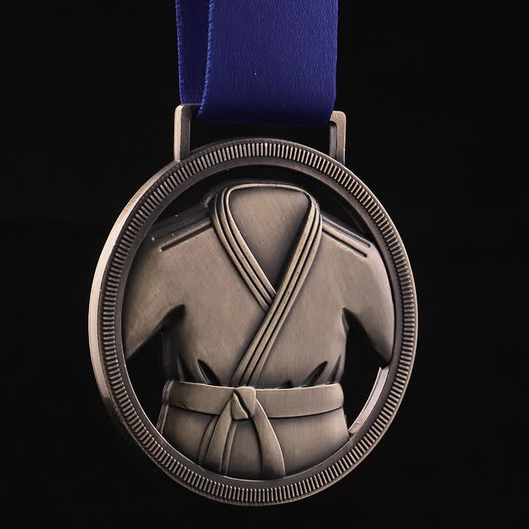 Top quality Custom 3d zinc alloy gold sliver bronze Jiu Jitsu judo award  metal medals with ribbon