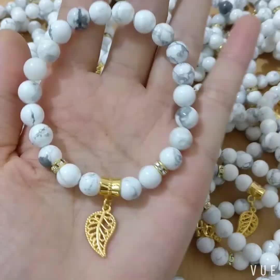 2019 Fashion Natural Stone 8mm White Howlite Gold Leaf Charm Bead Bracelet
