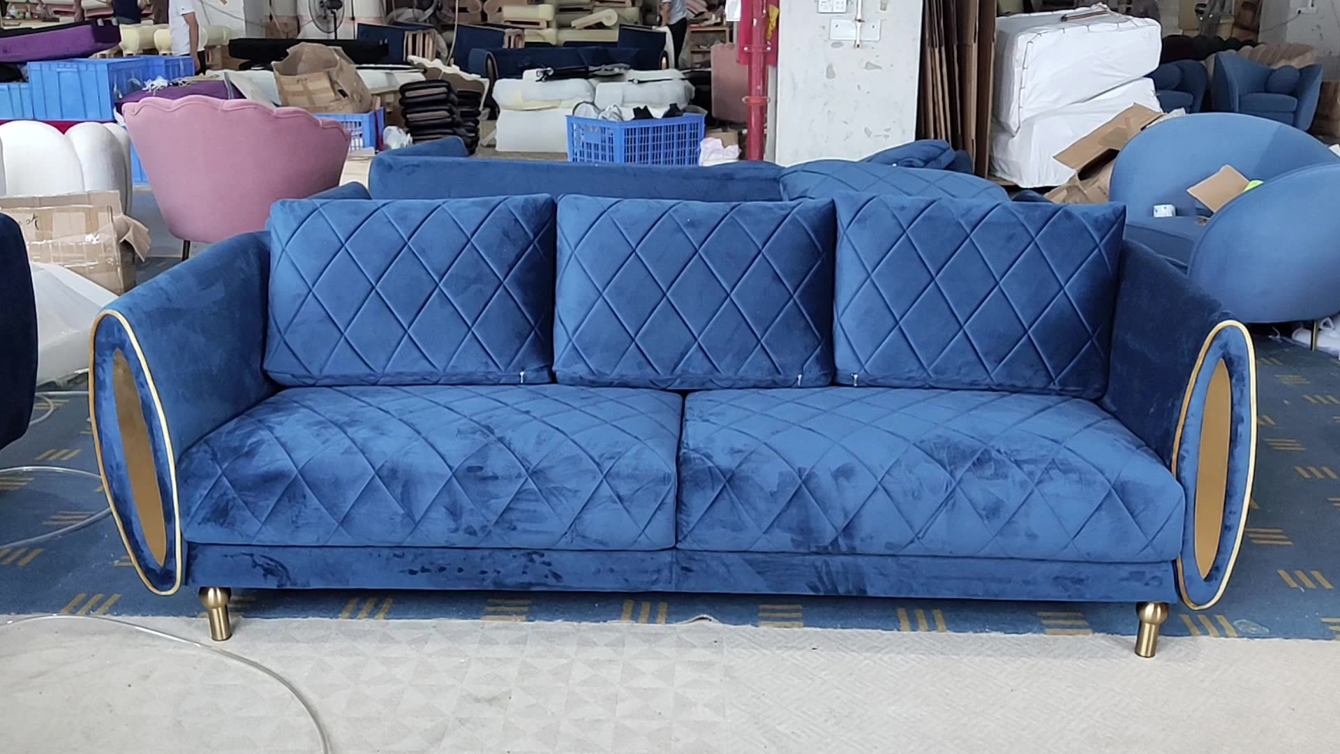 De Lujo tela acolchada Argyle sofá salón hogar muebles 3-seater de terciopelo cojín del sofá de Metal espejo Armside