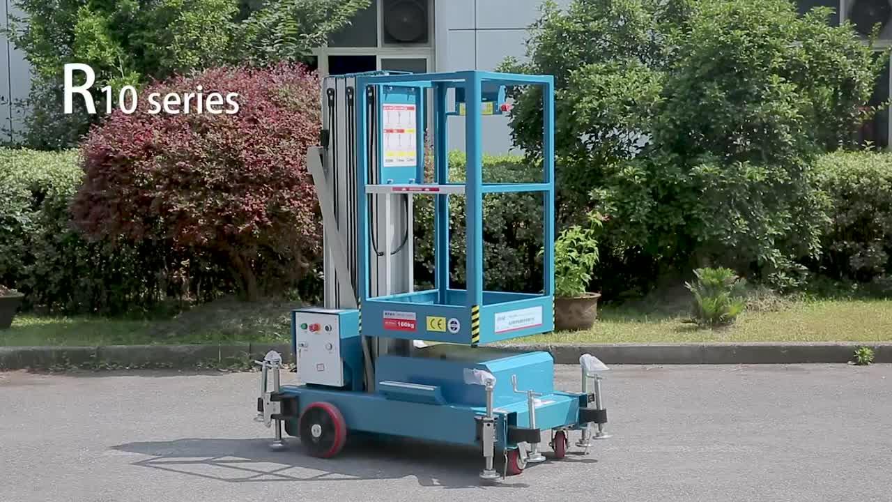 6 m hydraulic compact aluminum alloy vertical lift single mast aerial work platform man lift