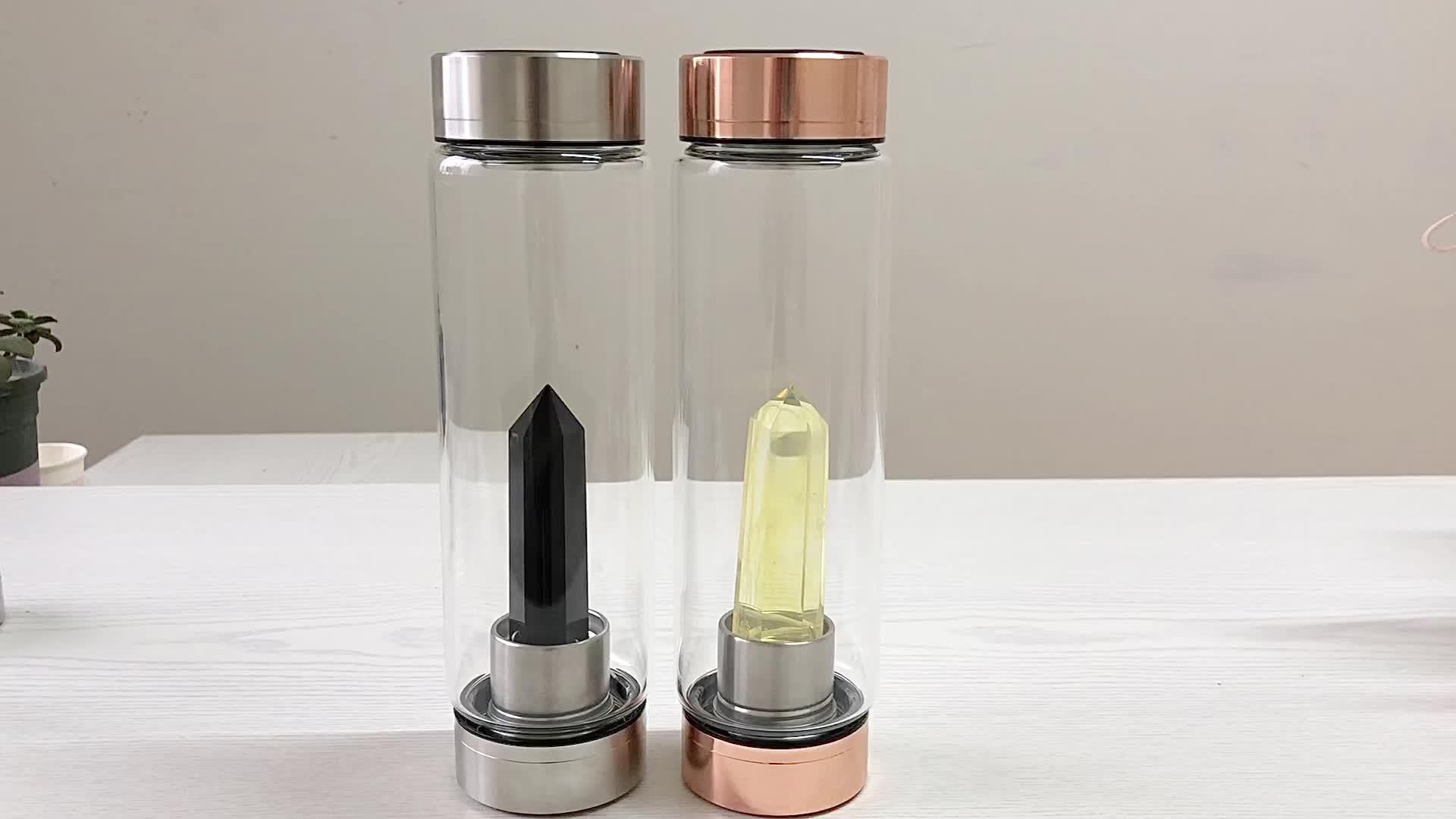 Cristallo di quarzo bottiglia di acqua infuso di guarigione di cristallo bottiglia di acqua gioiello di pietra potabile bottiglia
