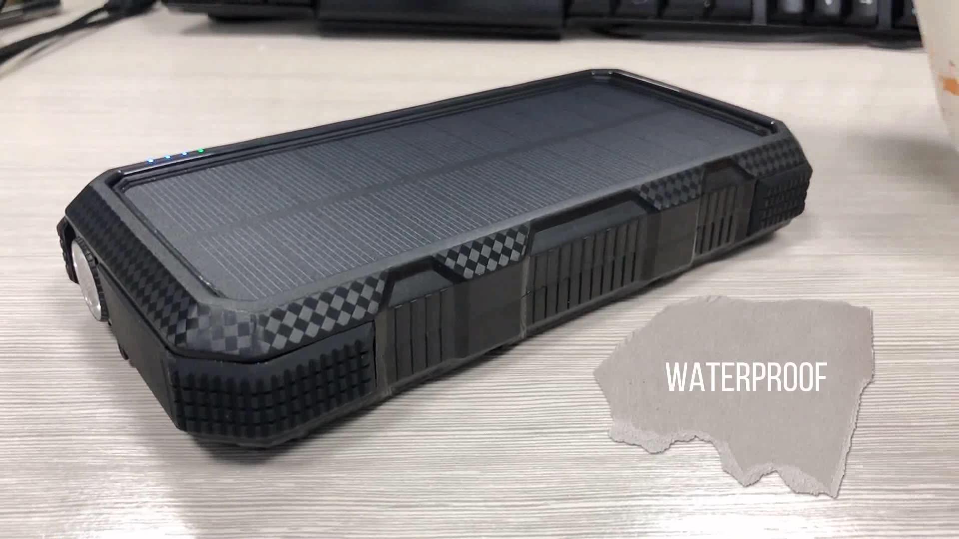 Dual Usb Portable Wireless Waterproof Solar Charger 5000Mah 10000Mah 20000Mah Solar Power Bank
