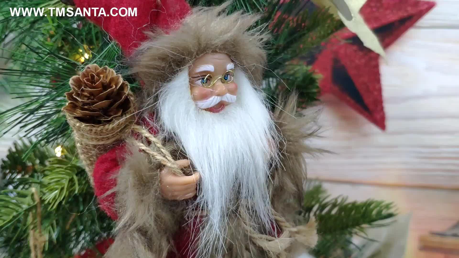 8 인치 크리스마스 산타 클로스 장식품 트리 인형 인형 펜던트 작은 전통 들고