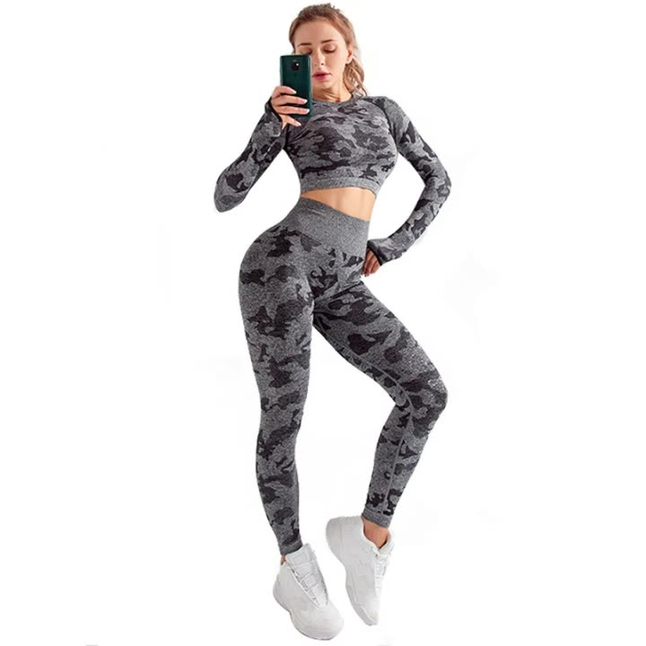 2020 New Style Camo Gym Set Two Piece Gym Outfit Set For Women