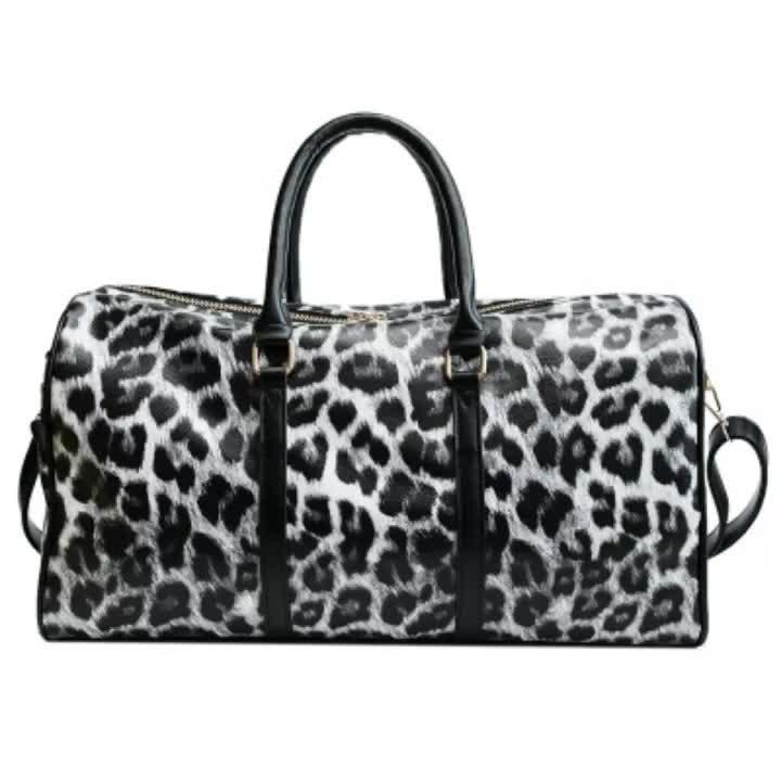 D1170 Waterproof Casual Luggage Tote Fashion Duffle Bag Hot Sale Women PU Leather Large Capacity Leopard Travel Weekender Bag