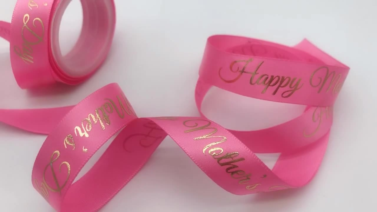High quality 100%polyester satin ribbon with logo printed 16MM satin with screen printing logo