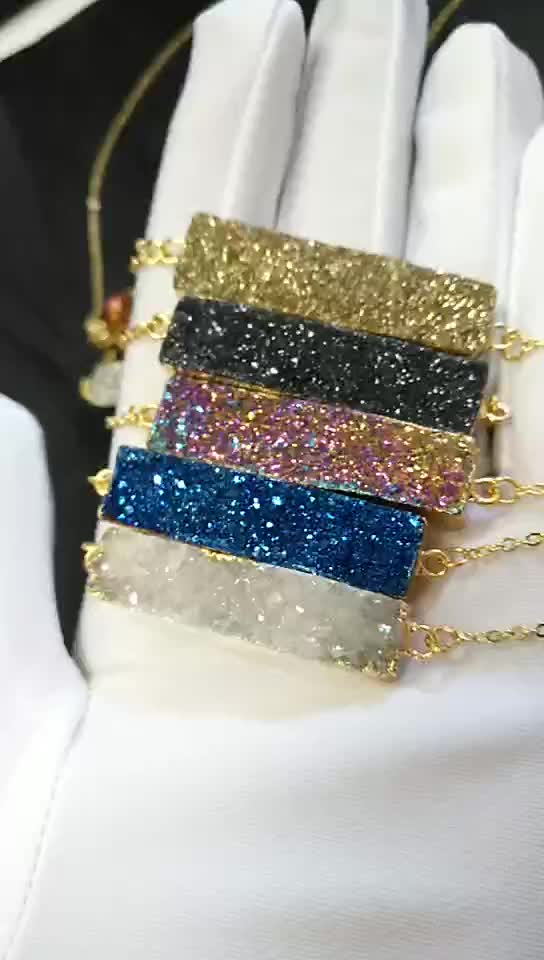 China manufacturer double bail connector jewellery findings gold plated women jewelry druzy pendent charms for necklace
