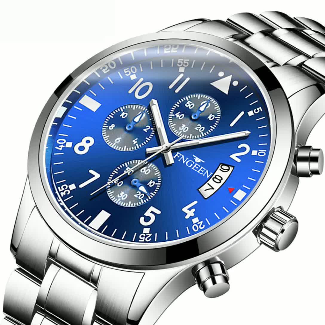 FNGEEN Multi-function Watch Men's Waterproof Sports Quartz Men's Watch Calendar Business Watch