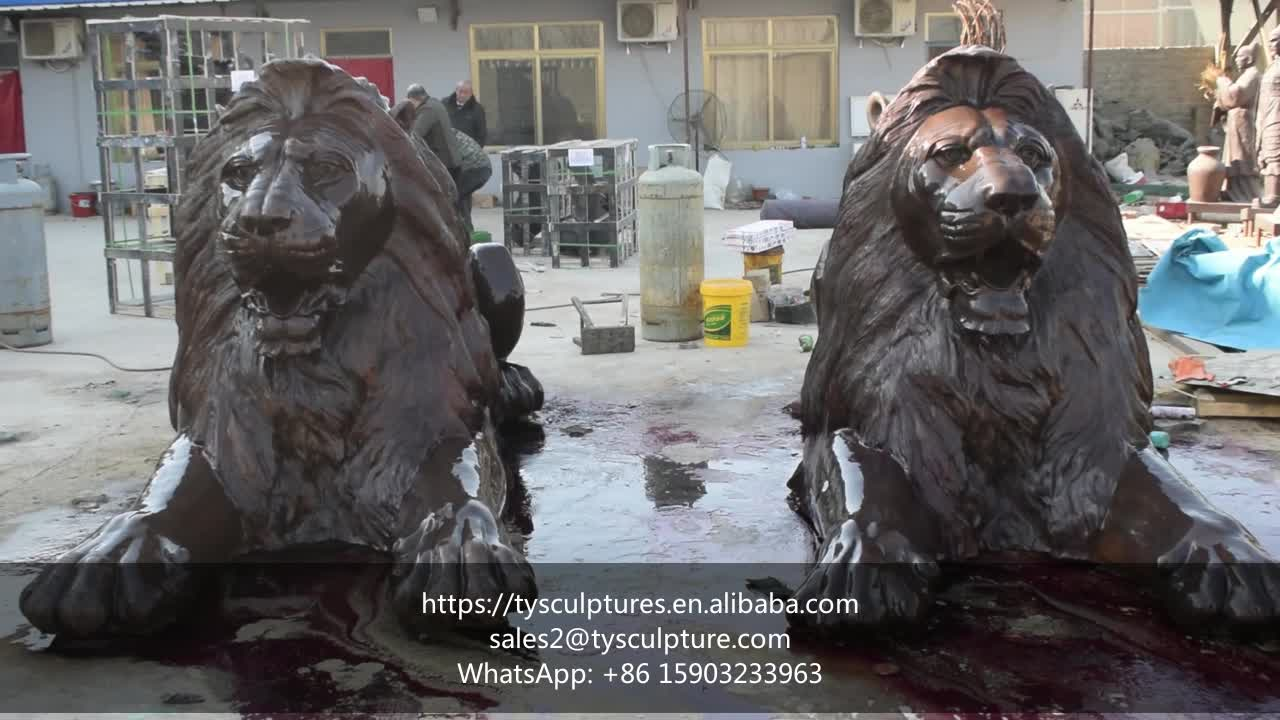 In stock cast large outdoor garden pair of lying bronze lion statues for sale