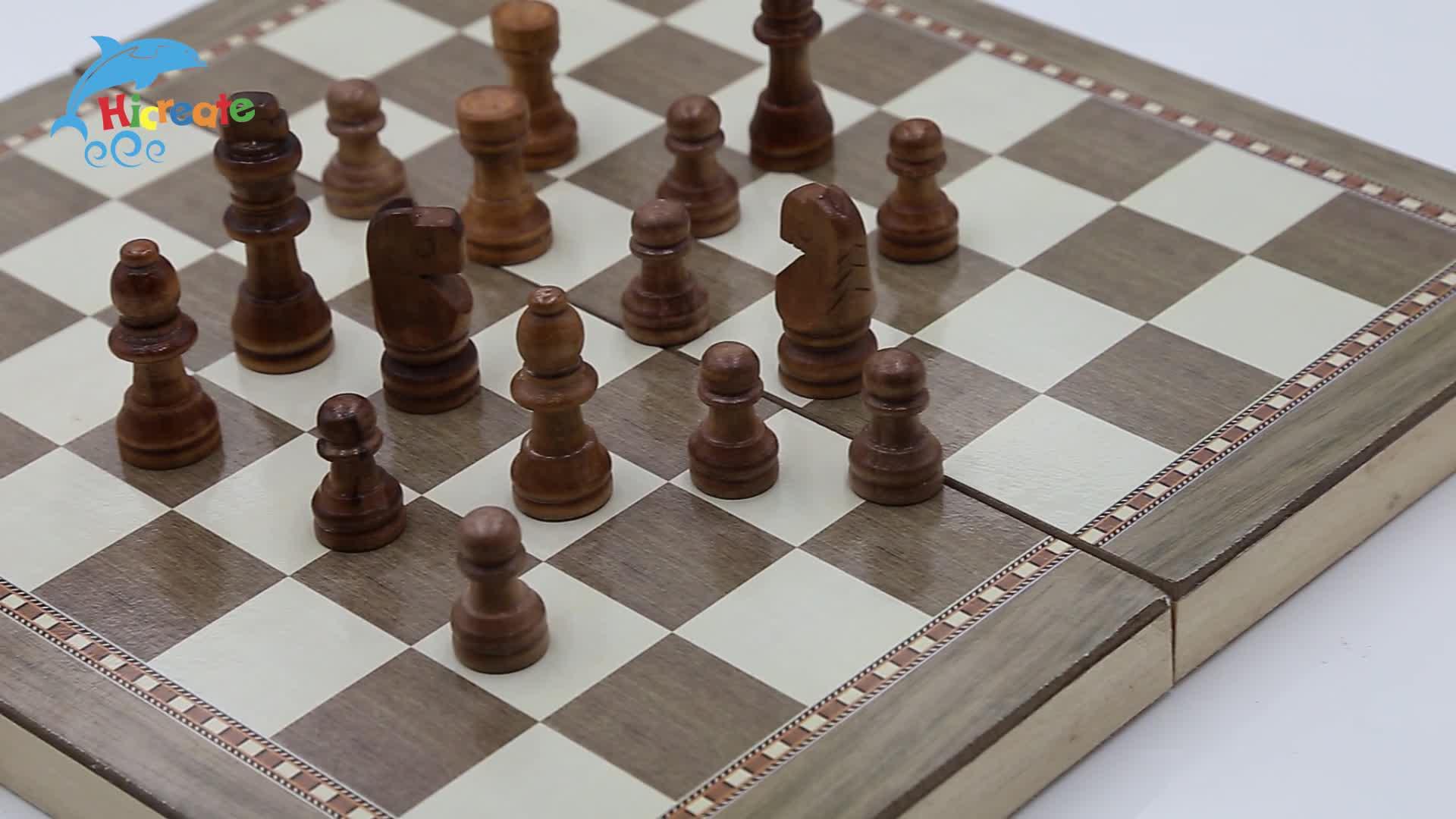 Su misura di alta qualità di scacchi e dama set di scacchi in legno gioco da tavolo