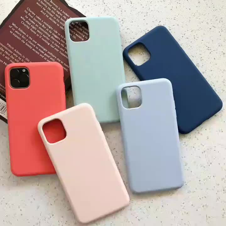 Anti shock colorful liquid silicone mobile phone case for iphone 11 pro max