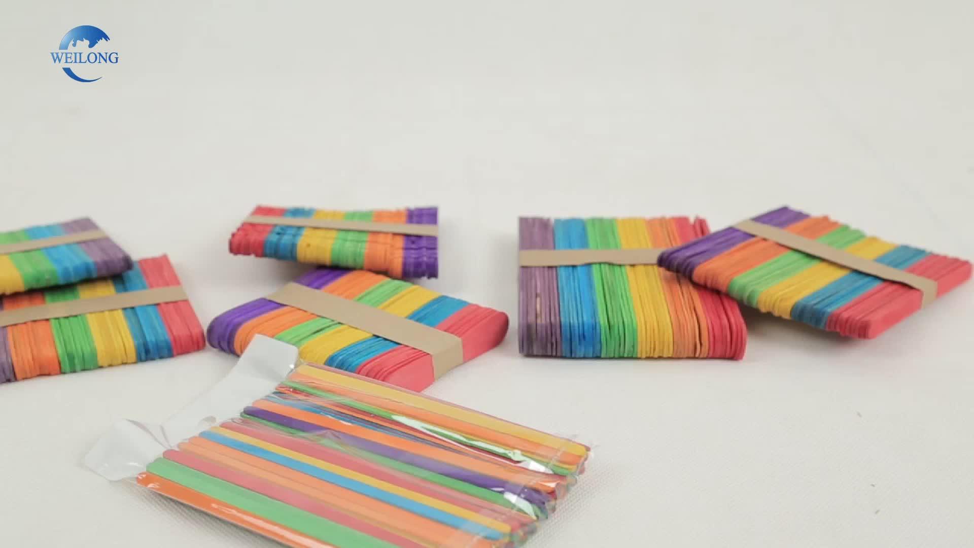 Tongkat Warna-warni Kerajinan Kayu Tongkat Es Krim Es Loli Kayu untuk Kerajinan Tangan