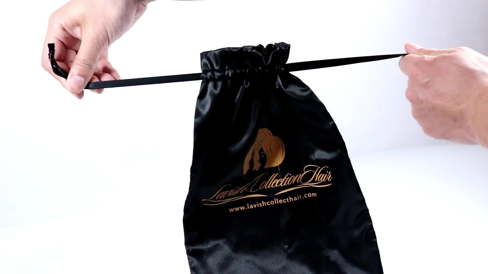Custom Silk Screen Printing LOGO Drawstring Fabric Bag Jewelry Packing Pouch Silk Stain Bag