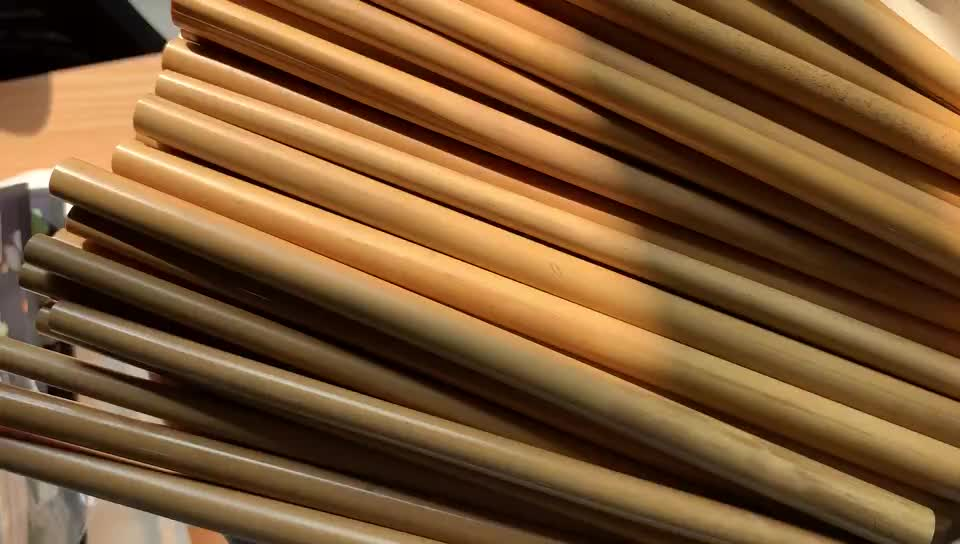 Customized Logo Bamboo Straw Wholesale Natural Bamboo  Drinking Straws In Bulk  With Cleaning Brush