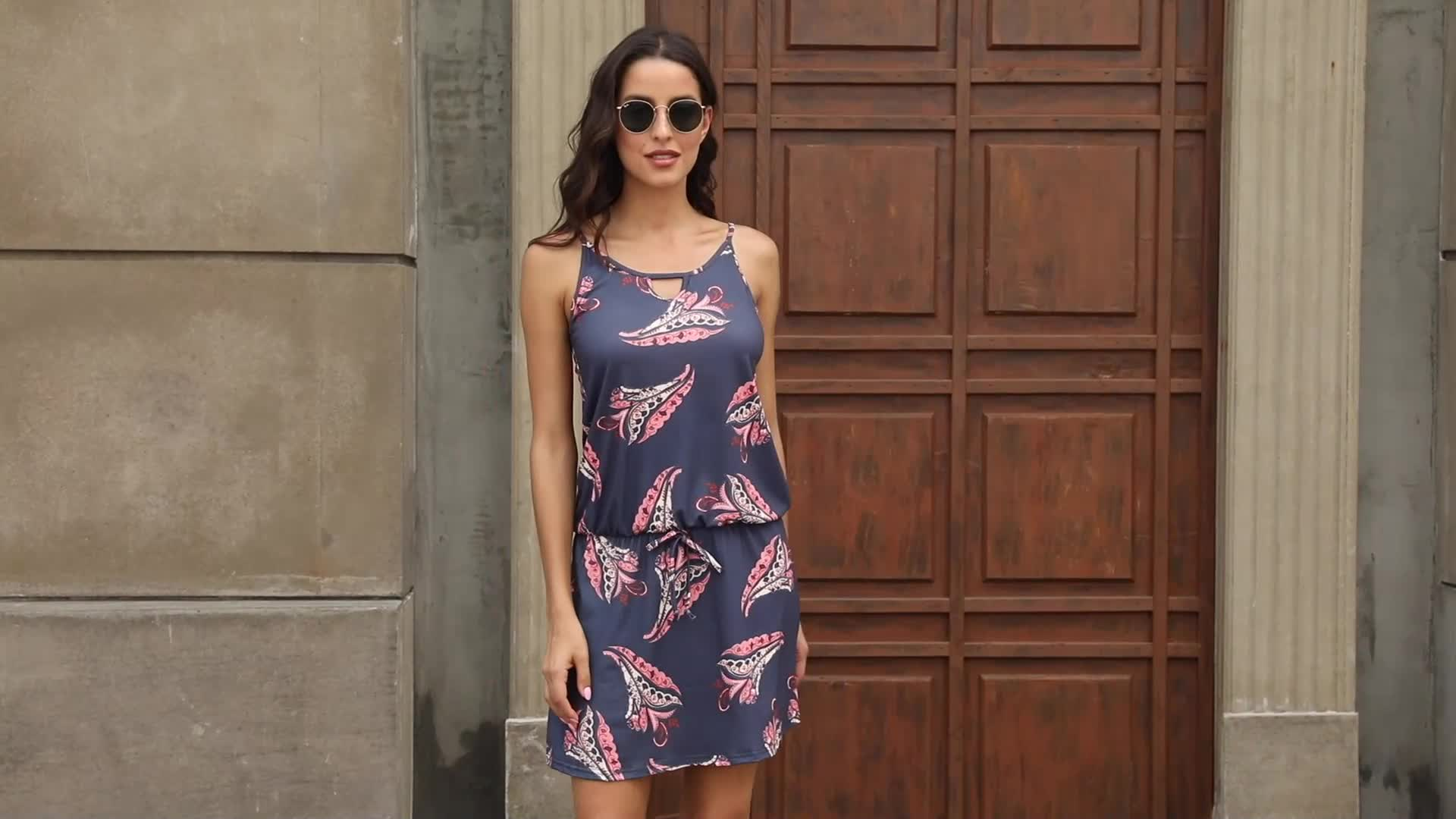Sleeveless Paisley Print One Piece Casual Dress Sexy Floral Dress