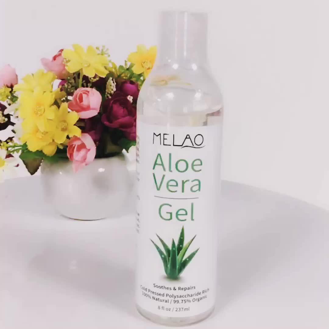 Commercio all'ingrosso Private Label Puro Naturale Organico Idratante Levigante Non-Appiccicoso Fresco di Aloe vera Gel Per Sempre Soggiorno 237 ml in bulk