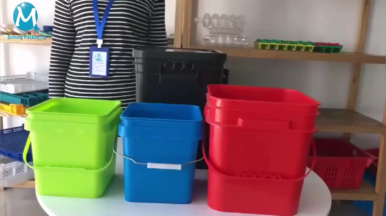 Square Buckets with Lid, Rectangular Plastic Pail for Paint, 18 Liter Square Plastic Barrels