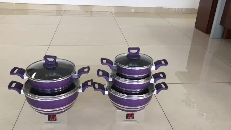 Custom gray soup pot aluminum cooking pot marble non-stick casserole sets
