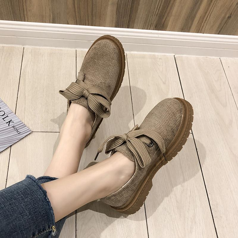 春季鞋子女粗跟2019新款百搭韩版学生v鞋子单鞋圆头复古英伦风系带