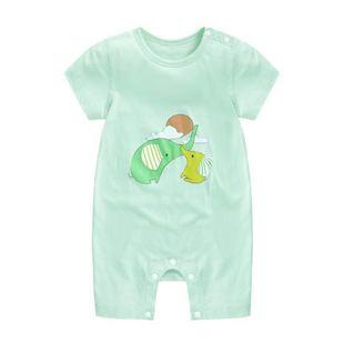 婴儿连体衣服夏季男宝宝纯棉短袖新生薄款