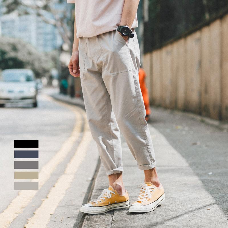 夏季新款日系纯色九分裤男青年潮流休闲水洗小脚裤日系宽松哈伦裤