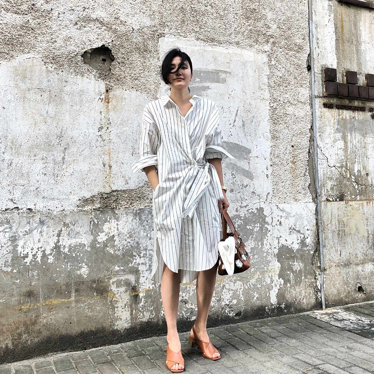 40bdd6e1ccc SOTHEA summer new design sense of asymmetry wear loose black and white  striped long-sleeved bandage was thin shirt OP
