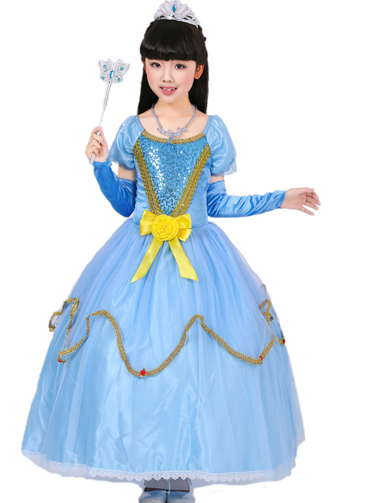 699dab60c 2019 New Arrival Christmas Kids Cinderella Dresses Blue Ball Gown ...