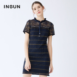 Shadow Yeon Nguyen 2020 summer new stylish striped wood-eared body-length hollow lace dress