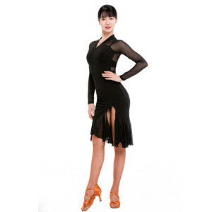 Women's latin dance dresses female adult Latin Dance Dress mesh stitching side slit training skirt national standard performance skirt