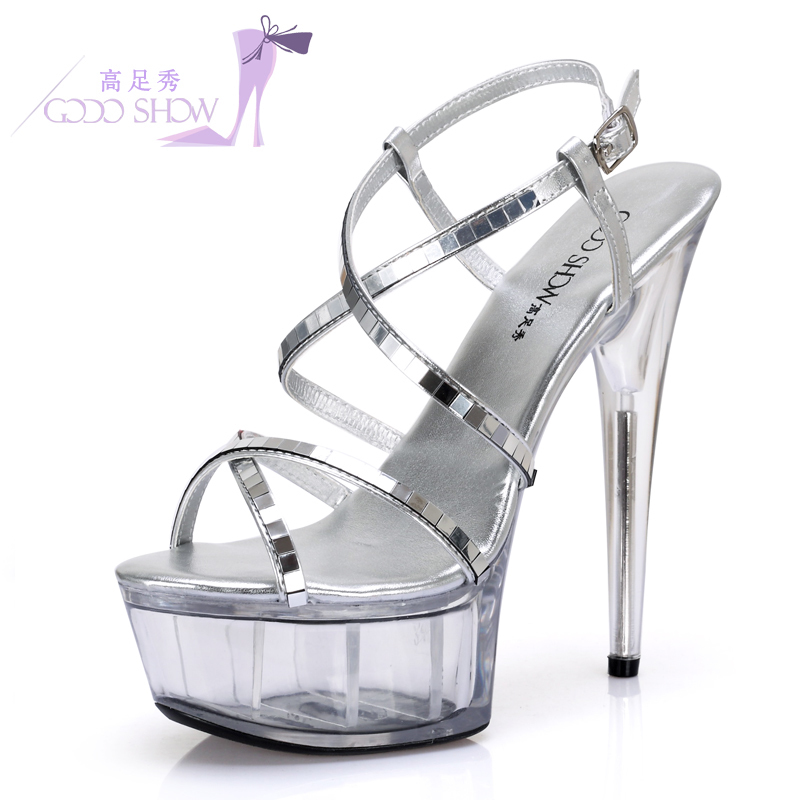 ... crystal shoes diamond catwalk shoes  Share. Summer new European and  American super high heels 15cm fine with silver non-slip sandals d818f1454ebb