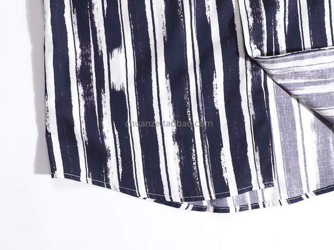 Kawazawa striped printed linen shirt men's 2020 new Korean version slim style four seasons long-sleeved shirt trend 51 Online shopping Bangladesh