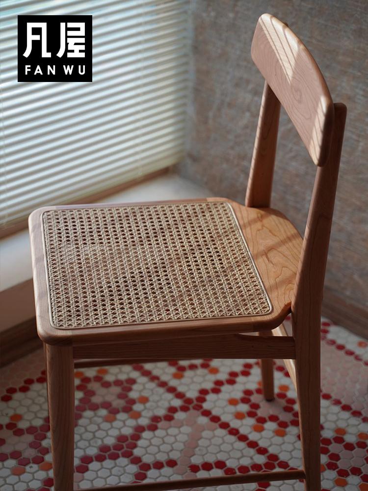 凡屋 ORO餐椅 中古餐桌椅子日式藤编实木家用靠背椅书桌椅小凳子_图1
