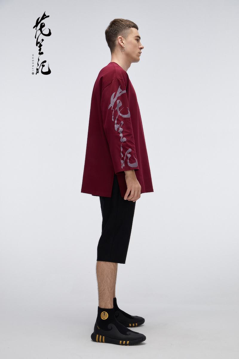 Hoa 笙 phong cách Trung Quốc ánh sáng thủy triều sang trọng in thương hiệu dài tay vòng cổ áo sơ mi nam màu đỏ và trắng loose couple hip hop đường phố khiêu vũ T-Shirt áo thun nam cổ tròn