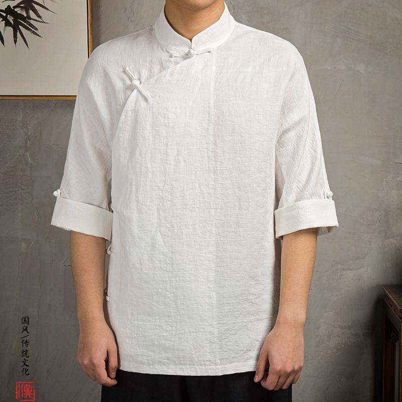 99.00元包邮夏季国潮白色青年休闲棉麻斜襟汉服