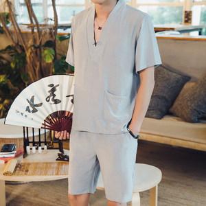 夏季中国风<span class=H>汉服</span>套装男青年民族服装短袖T恤短裤五分裤冰丝两件套