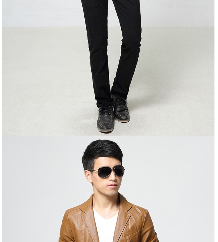 Fat Oversized Men Leather Jacket Slim Casual Teen Short Motorcycle Leather Leather Suit Suit - Quần áo lông thú