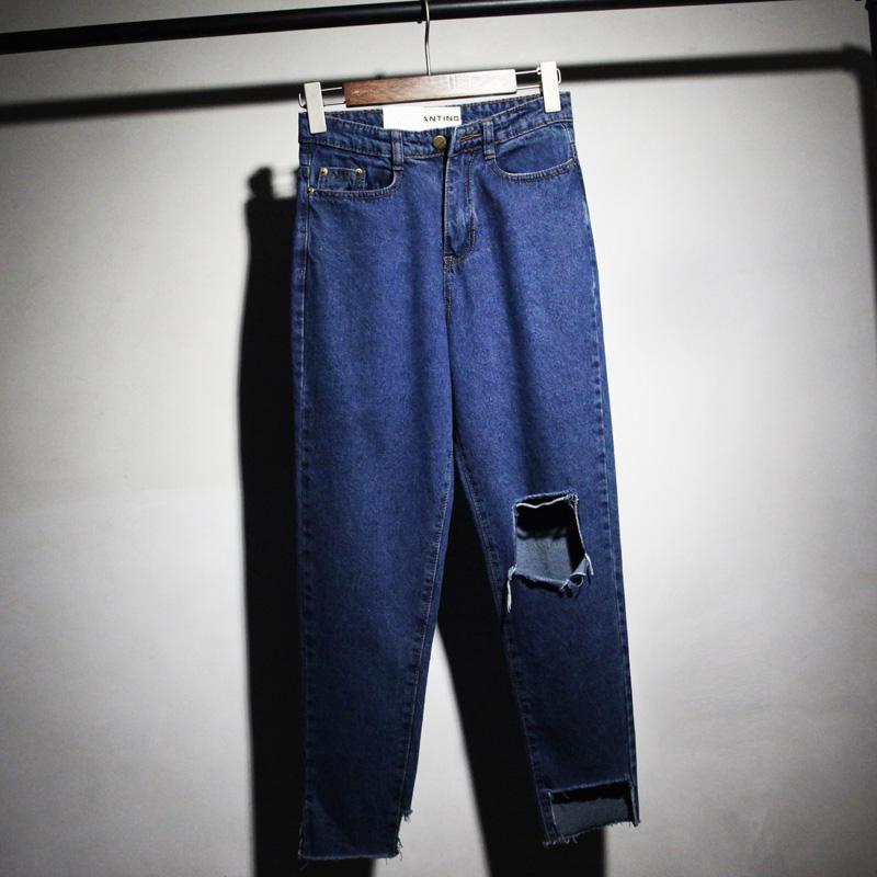 2015秋牛仔裤女高腰牛仔阔腿裤女宽松直筒牛仔裤女大裤脚宽脚长裤