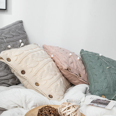 Nordic ins cushion office nap pillow solid color button pillow wool homestay living room sofa cushion