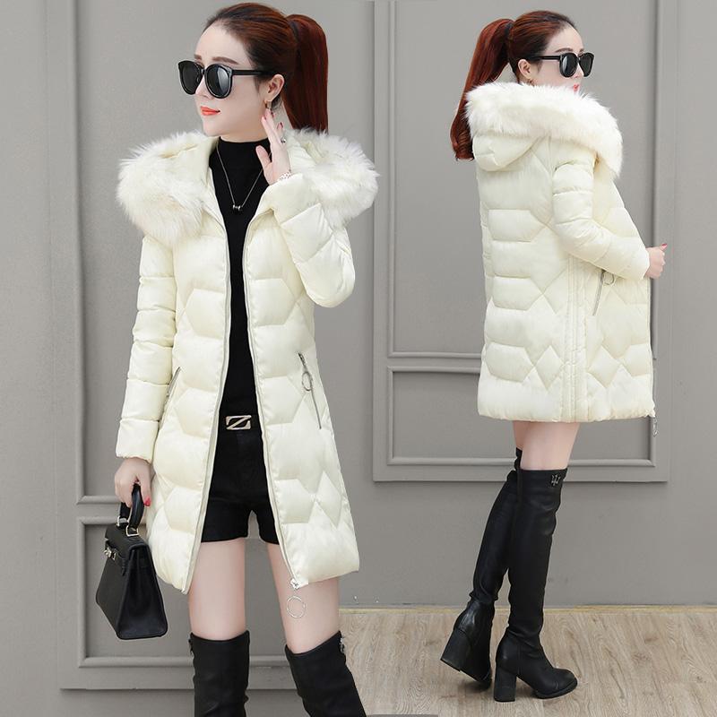 棉衣女装中长款2020新款冬季时尚大毛领羽绒棉服修身加厚棉袄外套