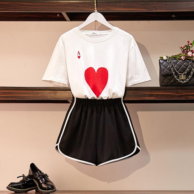 实拍 夏季新款大码女装胖mm时尚T恤+休闲百搭短裤两件套装