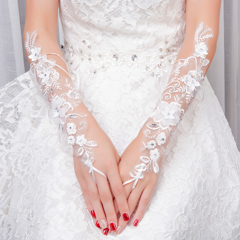 New Wedding Gloves Long Bride White Flowers Short Dress Lace Accessories