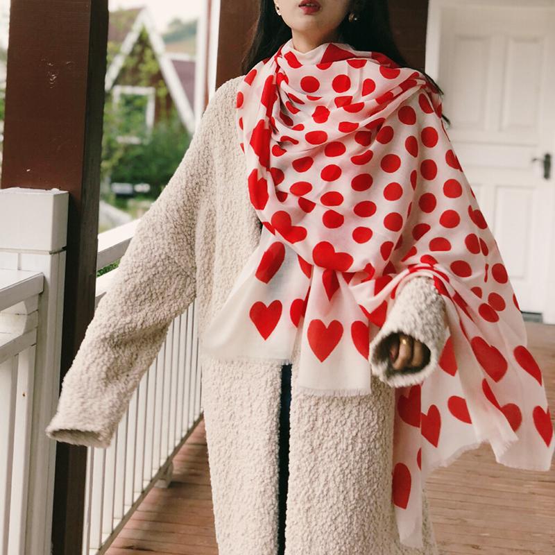空调披肩2019超大新款山羊绒定制薄款爱心房围巾女士秋冬季红色