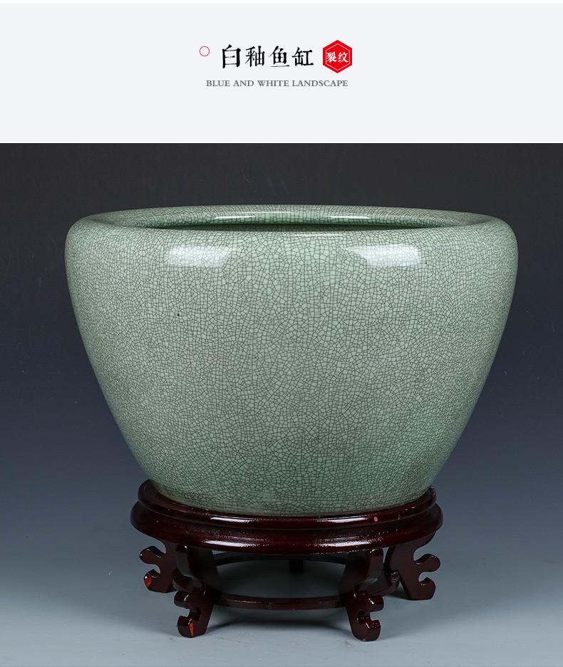 Jingdezhen ceramics archaize aquarium furnishing articles basin of Chinese style restoring ancient ways is water lily lotus oversized decorative goldfish bowl